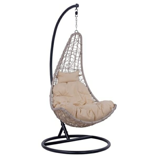 Сив висящ градински стол тип гнездо