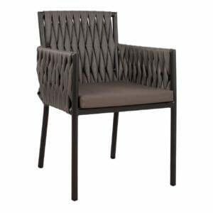 Сиво градинско кресло от ратан с мека седалка Фейн