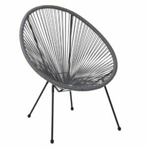 Сиво градинско кресло от ратан с овална форма серия Бали
