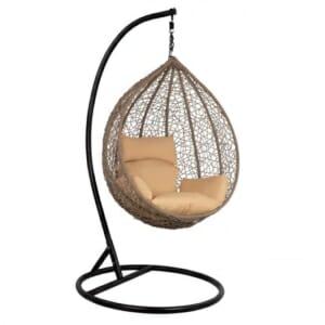 Сиво висящо градинско кресло със сферична форма Оли