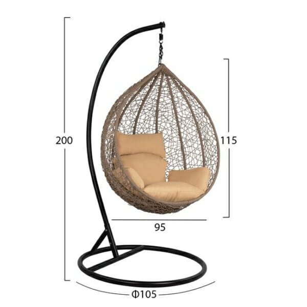 Сиво висящо градинско кресло със сферична форма Оли - размери