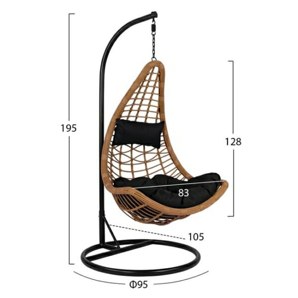 Висяща градинска люлка с възглавнички Сантяго - вариант 1 - размери