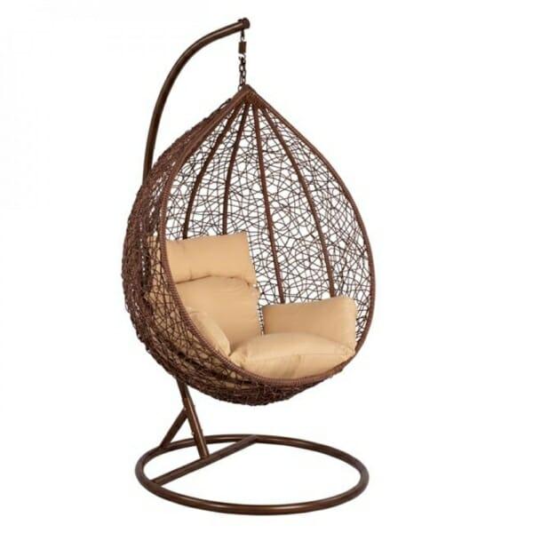 Висящо градинско кресло със сферична форма Оли - цвят кафе