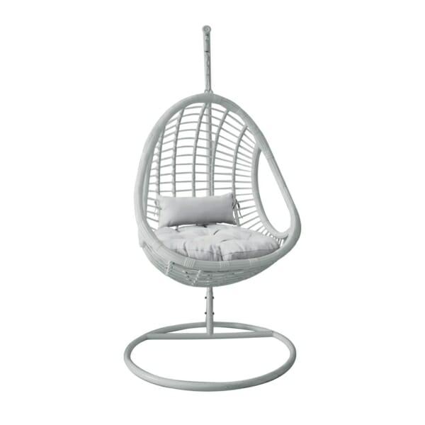 Висящо кресло от ратан с бяла седалка Марни