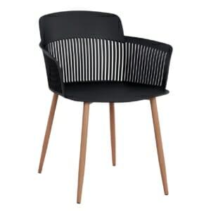 Трапезен стол с метални крака в дървен нюанс в черно