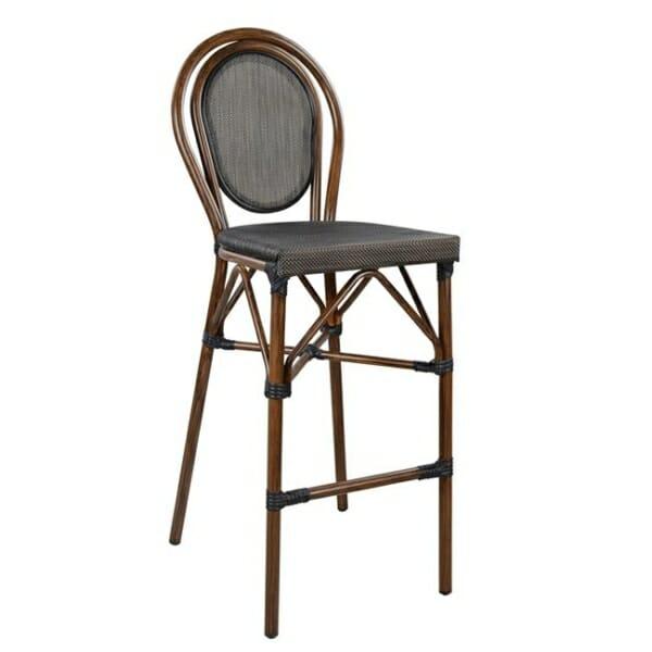 Алуминиев бар стол с визия на бамбук в кафяво