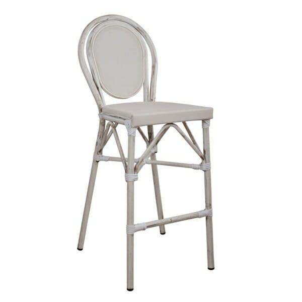 Алуминиев бар стол с визия на бамбук в бяло