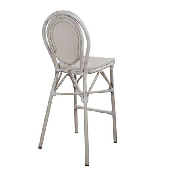 Алуминиев бар стол с визия на бамбук в бяло гръб
