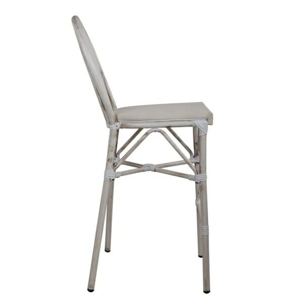 Алуминиев бар стол с визия на бамбук в бяло странично