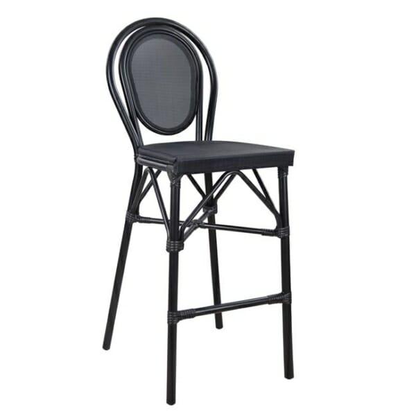 Алуминиев бар стол с визия на бамбук в черно