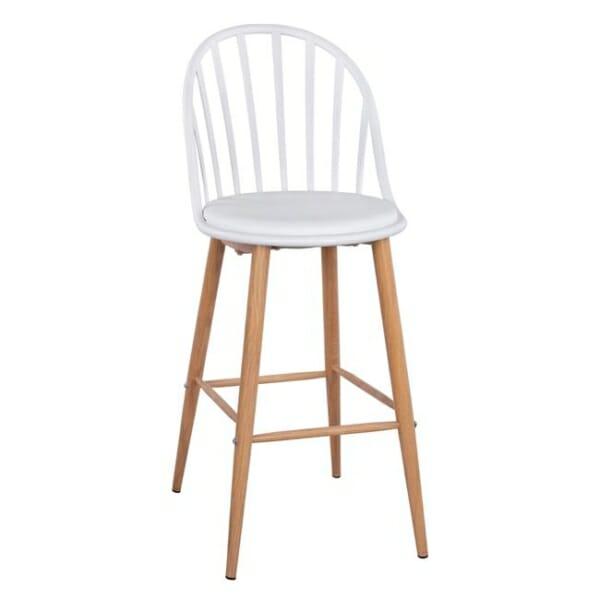 Бар стол Масару с метални крака в бяло