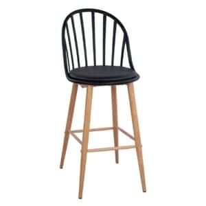 Бар стол Масару с метални крака в черно