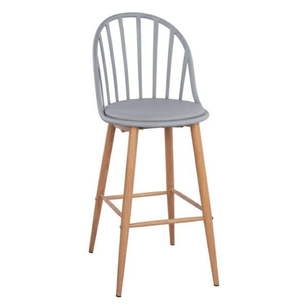 Бар стол Масару с метални крака в сиво