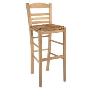 Бар стол Атина с облегалка и сламена седалка