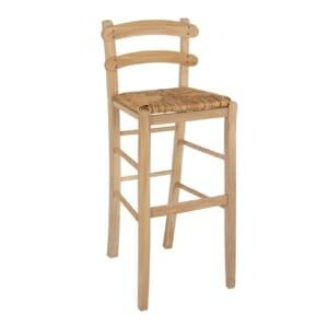Традиционен бар стол Лира от солиден бук и сламена седалка