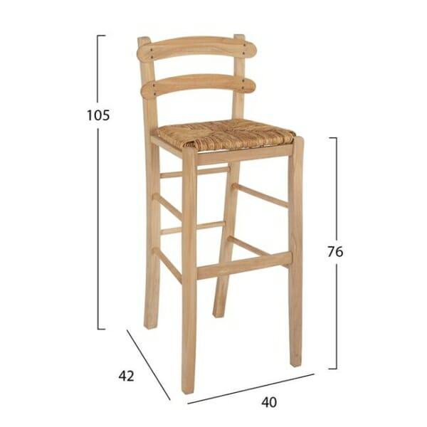 Традиционен бар стол Лира от солиден бук и сламена седалка размери