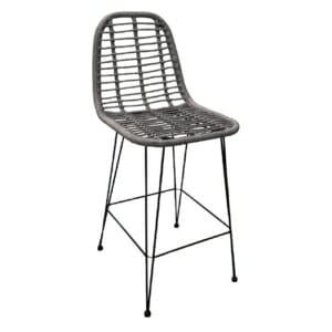 Бар стол от ратан и метал за външна употреба - сив цвят