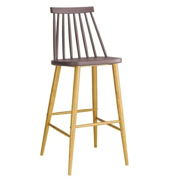 Бежов бар стол с облегалка и метална основа серия Лола