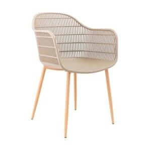 Бежов елегантен стол с крачета в натурален дървесен цвят Луси