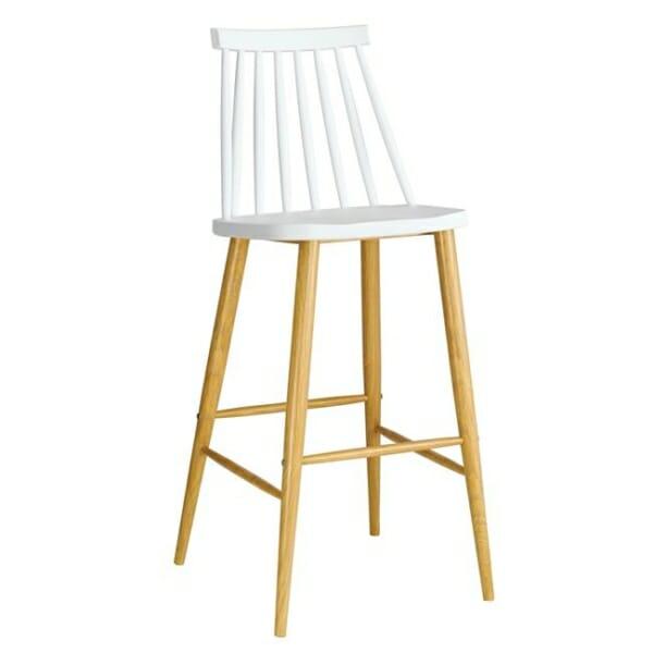 Бял бар стол с облегалка и метална основа серия Лола