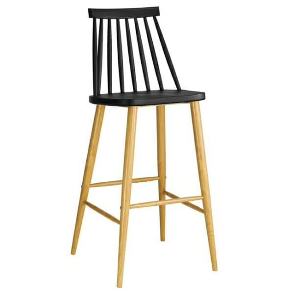 Черен бар стол с облегалка и метална основа серия Лола