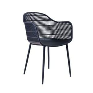 Черен градински стол с черни метални крачета Луси