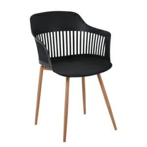 Черен модерен стол с метални крачета в натурален цвят Севиля