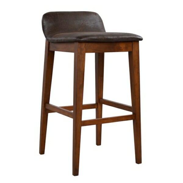 ДДървен бар стол Дакота със седалка от еко кожа