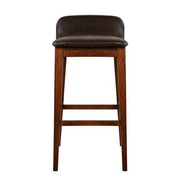 Дървен бар стол Дакота със седалка от еко кожа отпред