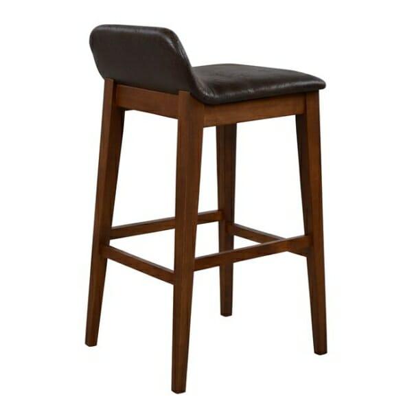 Дървен бар стол Дакота със седалка от еко кожа отзад