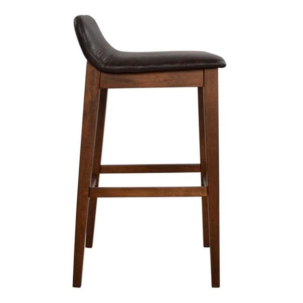 Дървен бар стол Дакота със седалка от еко кожа странично