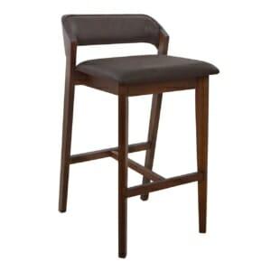 Дървен бар стол Етта с мека седалка