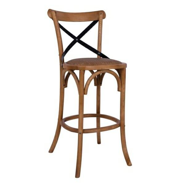 Дървен бар стол Форенза с метална облегалка