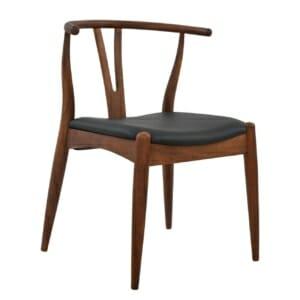 Дървен стол с извита облегалка и еко кожа