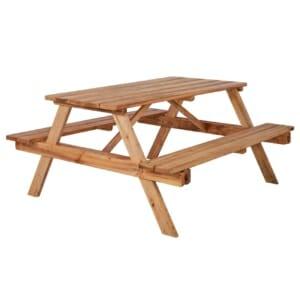 Дървена градинска маса с 2 пейки в стил Рустик