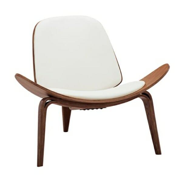 Дизайнерско кресло от дърво и еко кожа с 3 крачета в бял цвят