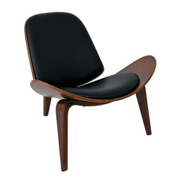 Дизайнерско кресло от дърво и еко кожа с 3 крачета в черен цвят