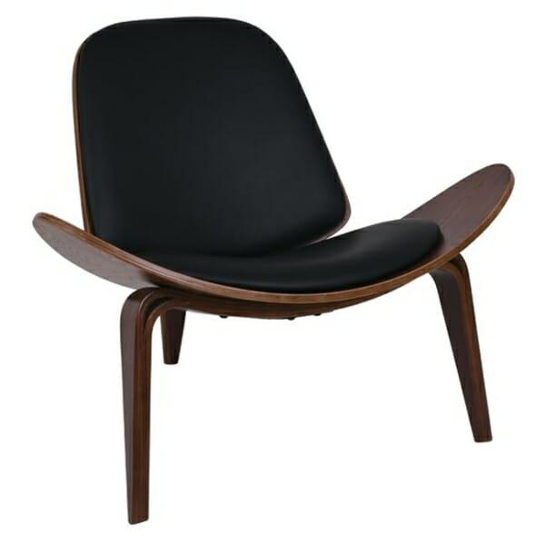 Дизайнерско кресло от дърво и еко кожа с 3 крачета в черен цвят - изглед отпред