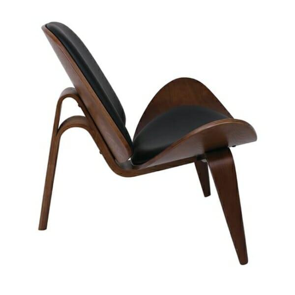 Дизайнерско кресло от дърво и еко кожа с 3 крачета в черен цвят - отстрани