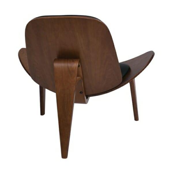 Дизайнерско кресло от дърво и еко кожа с 3 крачета в черен цвят - отзад