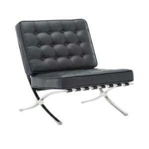 Дизайнерско кресло с хромирана основа Бари - черен цвят