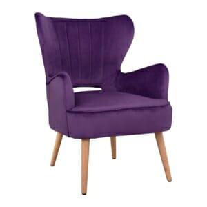 Дизайнерски фотьойл с кадифена тапицерия в лилаво