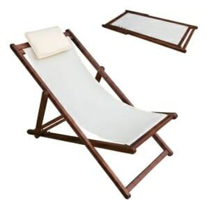 Дървен сгъваем плажен стол с възглавничка Малибу