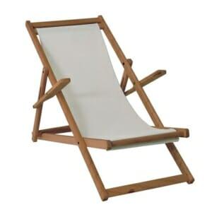 Дървен шезлонг за плаж или градина с подлакътници