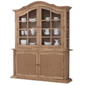Дървен шкаф със стъклена витрина в класически стил Сиси