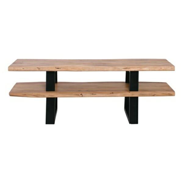 Дървена поставка за ТВ с 2 рафта и метална основа Данте - изглед отпред