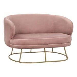 Елегантен диван с метална основа в златисто или сребристо - в розово
