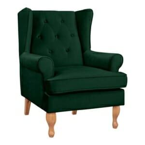 Елегантен фотьойл от кадифе и дървени крака в зелено