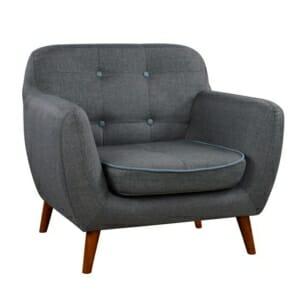 Елегантен фотьойл с дървени крака серия Карин в сиво