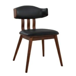 Елегантен трапезен стол от дърво и еко кожа в черно